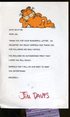 Jim Davis Garfield Signed Jsa Certified Letter Authentic Autograph