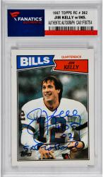 Jim Kelly Buffalo Bills Autographed 1987Topps Rookie # 362 Card with HOF 02 & 5 X Pro Bowl Inscription