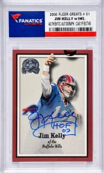 Jim Kelly Buffalo Bills Autographed 2000 Fleer Greats # 31 Card with HOF 02 Inscription