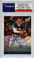 Jim Kelly Buffalo Bills Autographed 2000 Upper Deck # 4 Card with HOF 02 Inscription