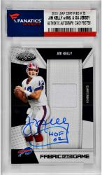 Jim Kelly Buffalo Bills Autographed 2010 Leaf Certified # 75 Card with HOF 02 Inscription & Game Used Jersey Piece
