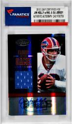 Jim Kelly Buffalo Bills Autographed 2012 Leaf Certified # 50 Card with HOF 02 Inscription & Game Used Jersey Piece