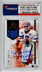 Jim Kelly Buffalo Bills Autographed 2012 Panini Momentum # 29 Card with HOF 02 Inscription & Game Used Jersey Piece