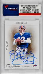 Jim Kelly Buffalo Bills Autographed 2012 Panini Signatures # 91 Card with HOF 02 Inscription