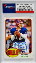Jim Kelly Buffalo Bills Autographed 2013 Topps Archives # 10 Card with HOF 02 Inscription