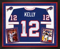 """Jim Kelly Buffalo Bills Deluxe Framed Pro Line Blue Jersey with """"HOF 02"""" Inscription"""