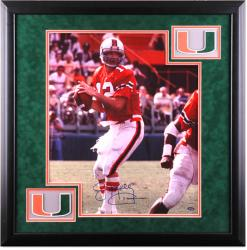 "Jim Kelly Miami Hurricanes Deluxe Framed Autographed 16"" x 20"" Passing Photograph"