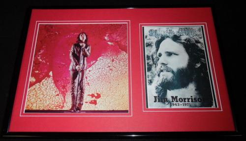 Jim Morrison Framed 12x18 Rolling Stone Memorial Cover & Photo Display The Doors