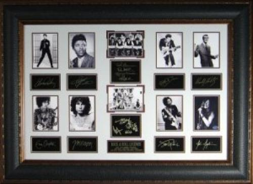 Jim Morrison unsigned Rock Legends Vintage 10 Photo Engraved Signature Series Leather Framed 27x39 (entertainment)
