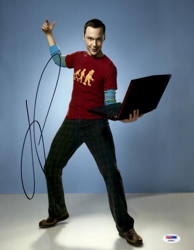 """Jim Parsons Autographed 11"""" x 14""""  Holding Computer Photograph - PSA/DNA"""