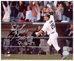 """Jim Thome Chicago White Sox 500th HR Autographed 8"""" x 10"""" Arm In Air Photograph with 500 HR 9-16-07 Inscription"""