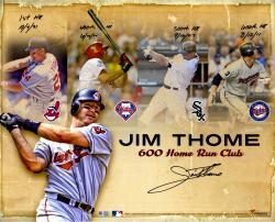 Jim Thome Cleveland Indians Autographed 16'' x 20'' Home Run Collage Photograph with Multiple Inscriptions