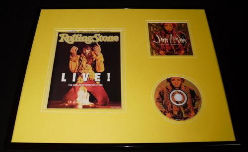 Jimi Hendrix 16x20 Framed Rolling Stone Cover & Ultimate Experience CD Display