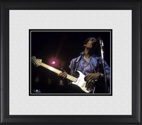 """Jimi Hendrix Framed 8"""" x 10"""" Singing into Microphone Photograph"""