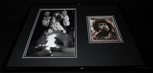 Jimi Hendrix Guitar on Fire 16x20 Framed Rolling Stone Cover Display