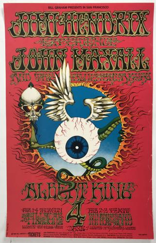 "Jimi Hendrix Original 1968 San Francisco Fillmore Poster ""BG105"" 2nd Printing"