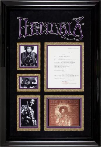Jimi Hendrix Signed 1969 Document Display Framed Epperson & PSA P01885