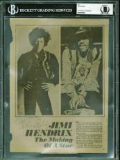 Jimi Hendrix Signed Autographed 7x9 Magazine Photograph Beckett BAS