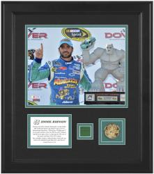 Jimmie Johnson 2012 FedEx 400 8'' x 10'' Photo with Gold Coin & Race-Used Flag - Limited Edition - Mounted Memories