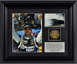 Jimmie Johnson 2013 AAA 400 Race Winner Framed 2-Photograph Collage with Gold-Plated Coin - Limited Edition of 348 - Mounted Memories