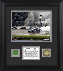 Jimmie Johnson 2013 AAA 500 Framed 8'' x 10'' Photograph with Gold-Plated Coin and Race-Used Flag - Limited Edition of 148 - Mounted Memories