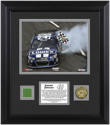 Jimmie Johnson 2013 STP Gas Booster 500 Winner Framed 8'' x 10'' Photograph with Gold Coin & Race-Used Flag-Limited Edition of 148 - Mounted Memories