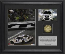 Jimmie Johnson Coke Zero 400 Race Winner Framed 2-Photograph Collage with Gold-Plated Coin - Mounted Memories