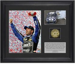 Jimmie Johnson 2013 STP Gas Booster 500 Race Winner Framed 2-Photo Collage with Gold Coin, Limited Edition of 348 - Mounted Memories