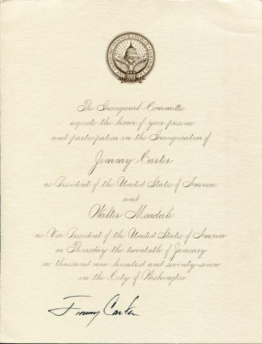 Jimmy Carter Autographed Inauguration Letter (JSA)