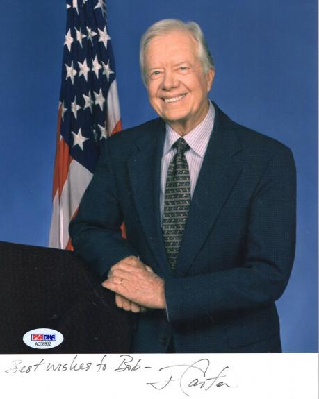 JIMMY CARTER HAND SIGNED 8x10 COLOR PHOTO     AWESOME+RARE      TO BOB     PSA