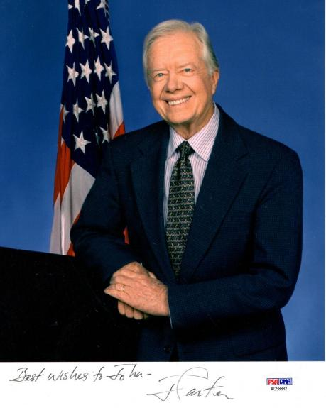 JIMMY CARTER HAND SIGNED 8x10 COLOR PHOTO     AWESOME+RARE       TO JOHN     PSA