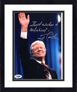 JIMMY CARTER HAND SIGNED 8x10 COLOR PHOTO    AWESOME+RARE     TO MICHAEL     PSA