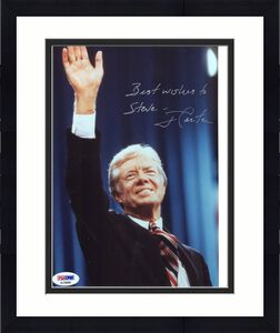 JIMMY CARTER HAND SIGNED 8x10 COLOR PHOTO     AWESOME+RARE      TO STEVE     PSA