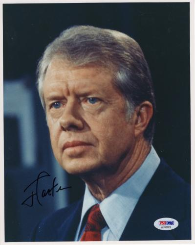 JIMMY CARTER HAND SIGNED 8x10 COLOR PHOTO       EX-US PRESIDENT     RARE     PSA