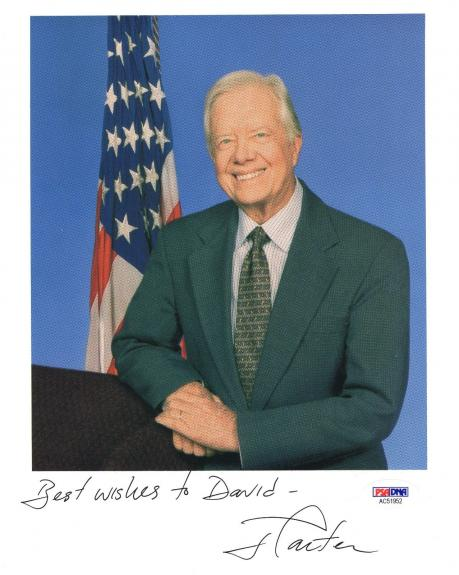 Jimmy Carter Autographed Photograph - 8x10 COLOR FORMER PRESIDENT TO DAVID PSA