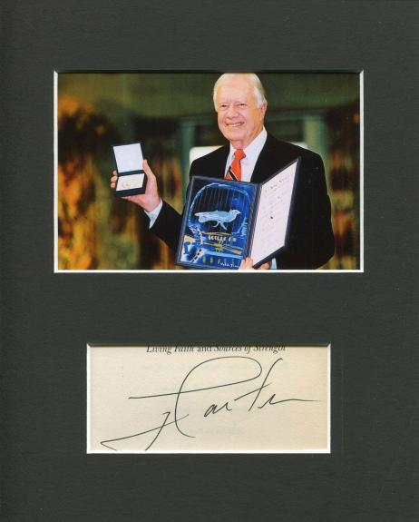 Jimmy Carter Nobel Peace Prize US President Rare Signed Autograph Photo Display