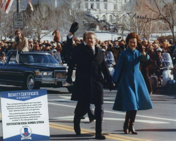 Jimmy Carter & Rosalynn Carter Signed Autographed Color 8x10 Photo Bas Coa