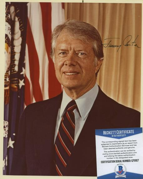 Jimmy Carter Signed Autographed Color Photo Beckett Bas Coa Full Jimmy!!!!