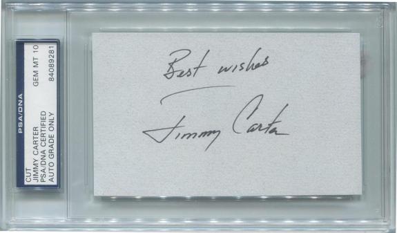 Jimmy Carter Signed Cut Autograph. Rare, Full Name. PSA Perfect Gem Mint 10