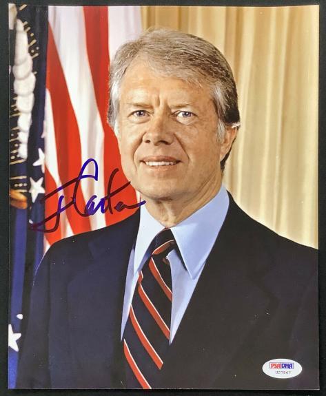 Jimmy Carter Signed Photo 8x10 President Democrat Georgia Blue Auto PSA/DNA