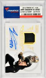 Jimmy Graham New Orleans Saints Autographed 2012 Panini National Treasures #64 Card with a Piece of Game Worn Jersey Limited to 15 Pack Pulled