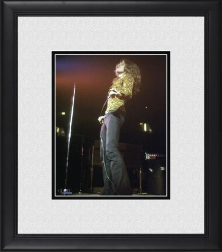"""Jimmy Page Led Zeppelin Framed 8"""" x 10"""" Holding Microphone Photograph"""