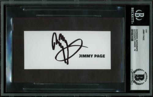 Jimmy Page Led Zeppelin Signed 1.75x4 Cut Signature Auto Graded 10 BAS Slabbed 3