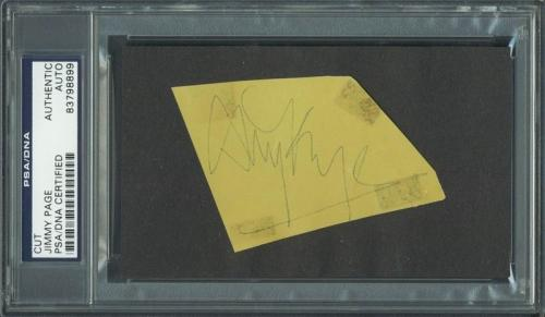 Jimmy Page Led Zeppelin Signed 2.5x2.5 Cut Autograph PSA/DNA Slabbed