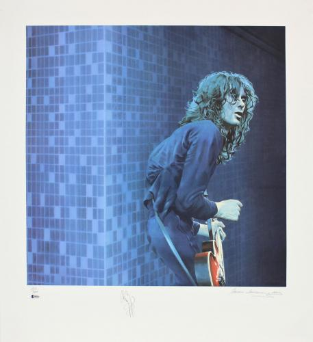Jimmy Page Led Zeppelin Signed 30x33 LE Artist Print Litho #202/300 BAS #A05235