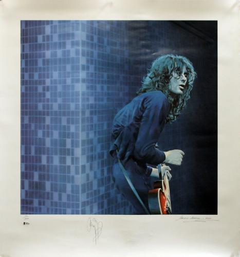 Jimmy Page Led Zeppelin Signed 30x33 LE Artist Print Litho #214/300 BAS #A05119