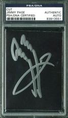Jimmy Page Led Zeppelin Signed 3x3.5 Cut Signature PSA/DNA Slabbed