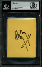 Jimmy Page Led Zeppelin Signed 3x4 Cut Signature BAS Slabbed