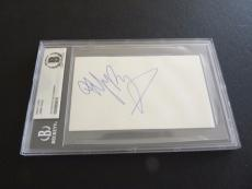 Jimmy Page Led Zeppelin Vintage Signed 3x5 Index Card Beckett Certified Slabbed