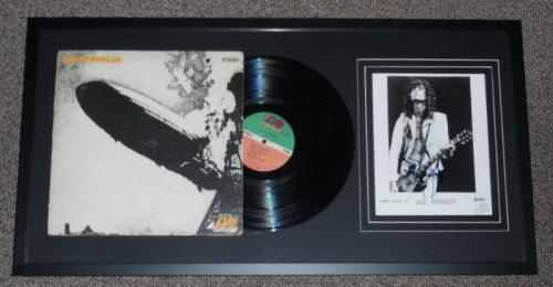 Jimmy Page Signed Framed 17x33 Photo & Vintage Led Zeppelin Album Display RR LOA